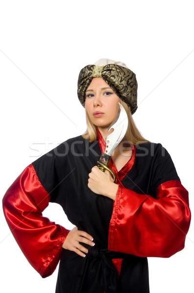 Female magician isolated on white Stock photo © Elnur