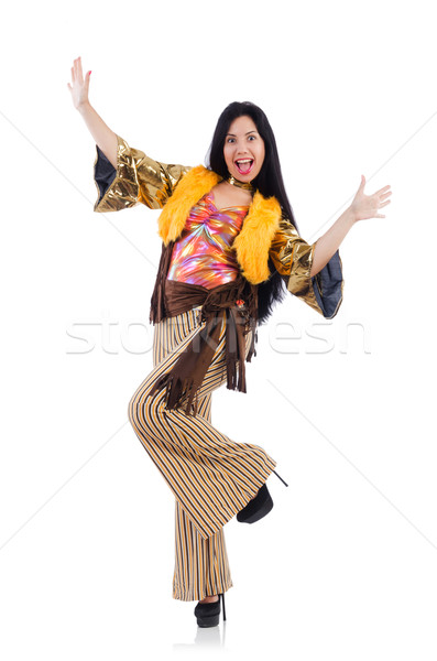 Girl in colourful latino dress isolated on white Stock photo © Elnur
