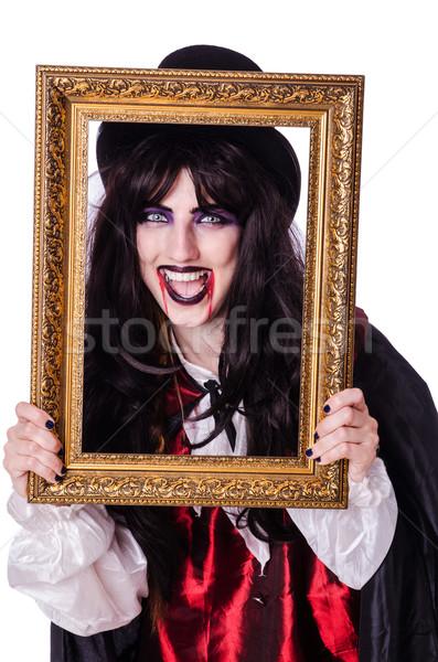 Stock fotó: Sátán · halloween · izolált · fehér · mosoly · keret