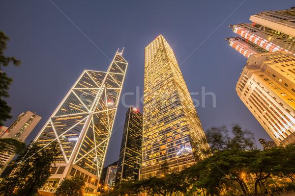 Hong Kong zonsondergang hemel gebouw licht Stockfoto © Elnur