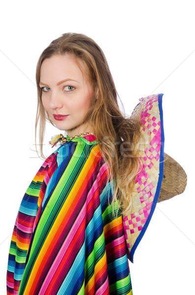 Csinos lány mexikói izolált fehér nő Stock fotó © Elnur