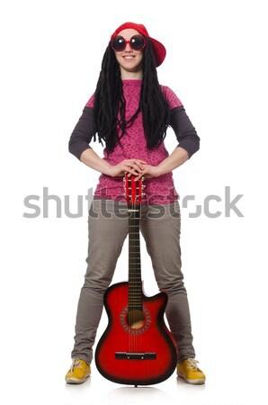 Stock fotó: Nő · gitáros · izolált · fehér · zene · buli