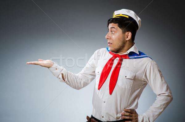 面白い 船乗り 着用 帽子 手 笑顔 ストックフォト © Elnur