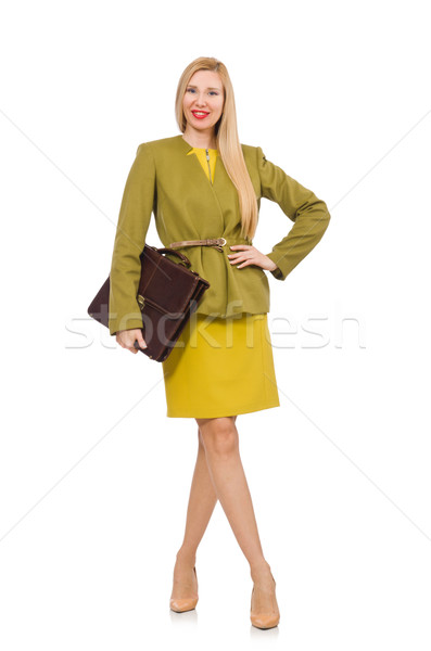Young woman in vivid jacket and with briefcase isolated on white Stock photo © Elnur