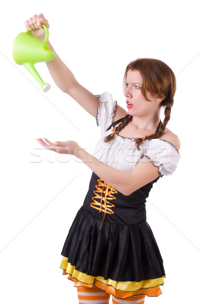 Young woman with watering can isolated on white Stock photo © Elnur