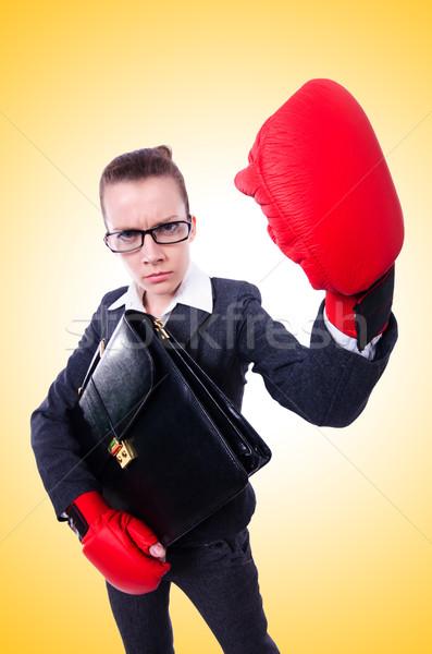 Mujer guantes de boxeo blanco empresario traje rojo Foto stock © Elnur