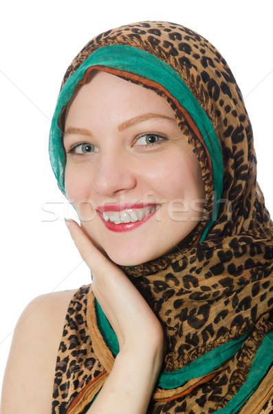 Nő visel hagyományos öltözék fehér mosoly arc Stock fotó © Elnur