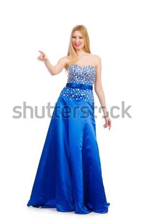 Nő csinos kék estélyi ruha izolált fehér Stock fotó © Elnur
