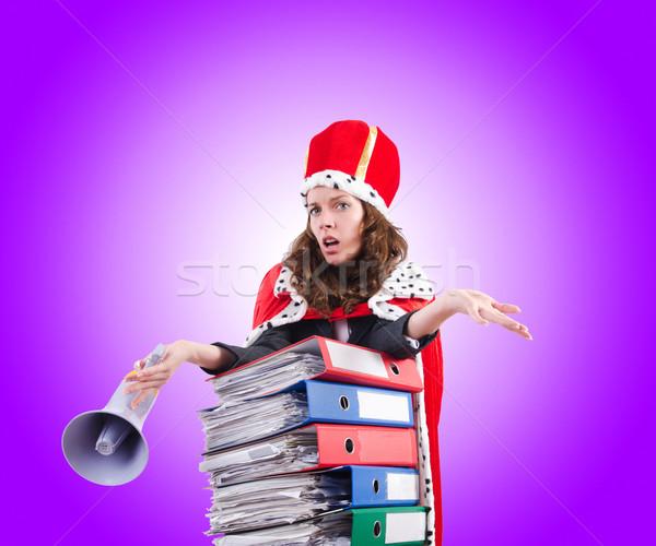 Mulher rainha engraçado trabalhar empresário alto-falante Foto stock © Elnur
