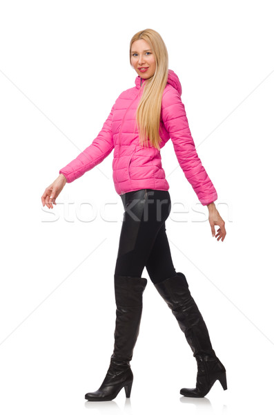 Joli fille hiver rose veste isolé Photo stock © Elnur