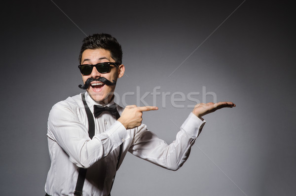 Moço falso bigode isolado cinza feliz Foto stock © Elnur