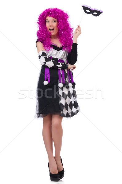 Pretty girl in jester costume isolated on white Stock photo © Elnur