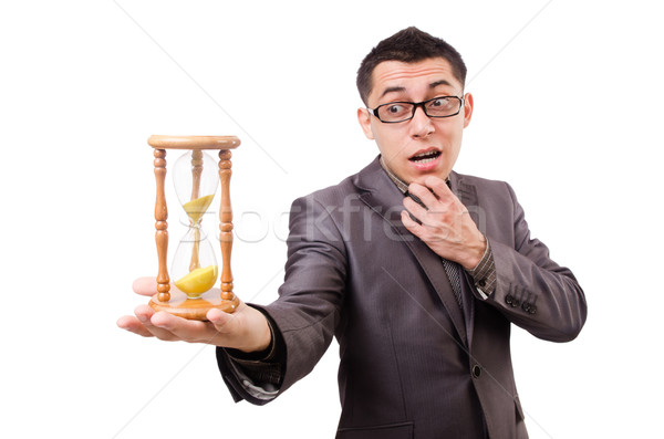 Young man with sandglass isolated on white Stock photo © Elnur
