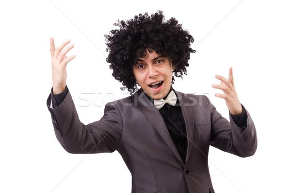 Jeune homme africaine perruque isolé blanche Photo stock © Elnur