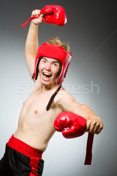 Funny nerd Boxer Sport Hand Mann Stock foto © Elnur