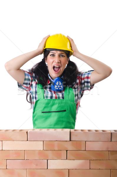 Stock fotó: Mérges · női · építőmunkás · fehér · nő · építkezés