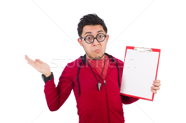 Funny coach with whistle and diary isolated on white Stock photo © Elnur
