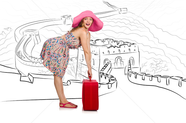 Young woman travelling to China to see Great Wall Stock photo © Elnur