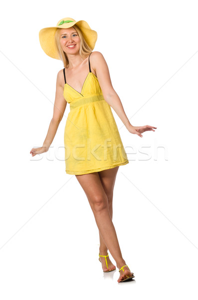 Stock photo: Caucasian fair model in yellow summer dress isolated on white
