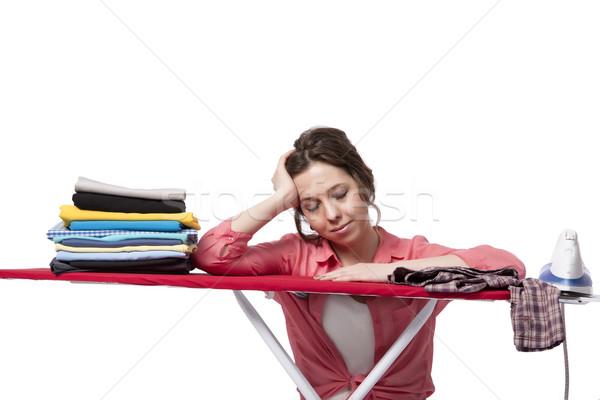Stock fotó: Fiatal · nő · vasalás · izolált · fehér · lány · szoba