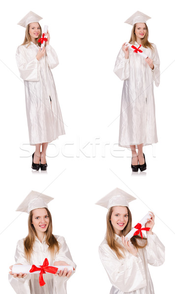 The woman student isolated on white background Stock photo © Elnur