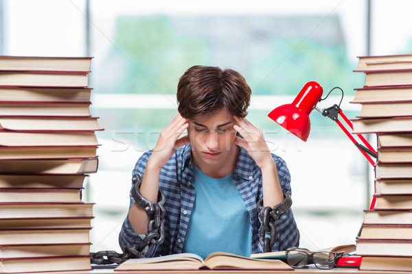Young man preparing for graduation exams in college Stock photo © Elnur