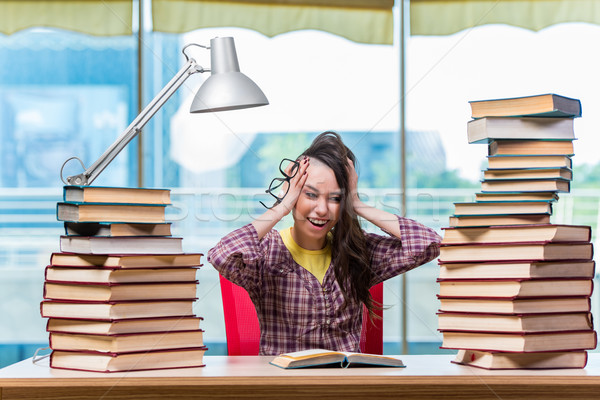 The young female student preparing for exams Stock photo © Elnur