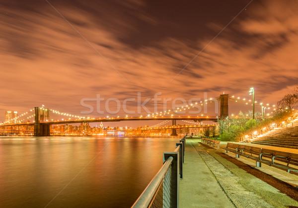 ночь мнение Manhattan моста небе воды Сток-фото © Elnur