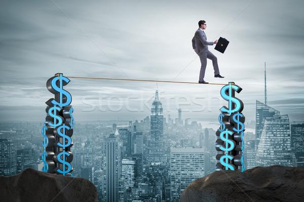 Zakenman lopen strak touw geld man Stockfoto © Elnur