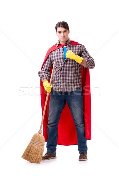 Szuperhős takarító izolált fehér férfi dolgozik Stock fotó © Elnur