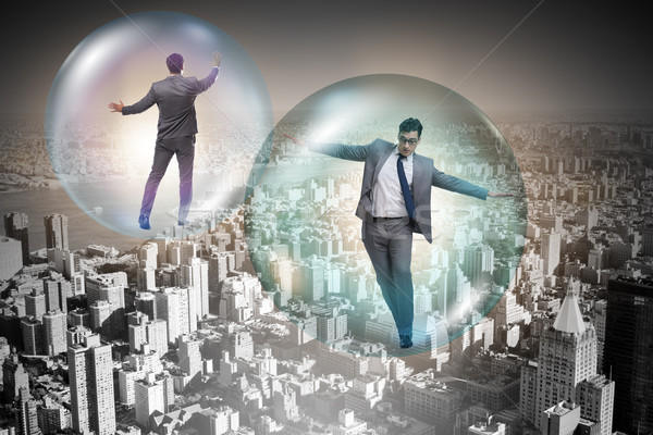 üzletember repülés bent buborék üzlet pénz Stock fotó © Elnur