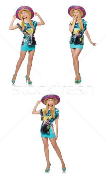 Stock photo: Happy woman wearing sombrero hat on white