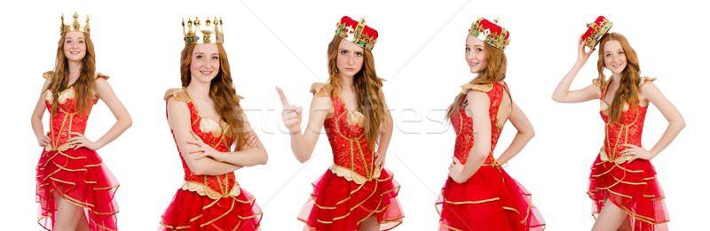 Królowej czerwona sukienka odizolowany biały pracy złota Zdjęcia stock © Elnur