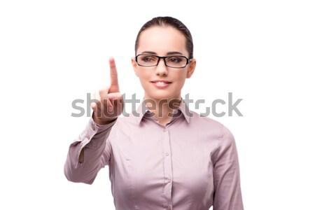 Businesswoman pressing virtual button isolated on white Stock photo © Elnur