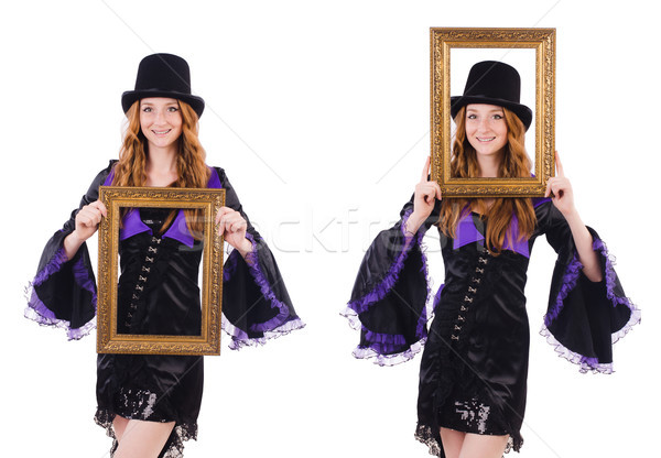 Woman with picture frame on white Stock photo © Elnur