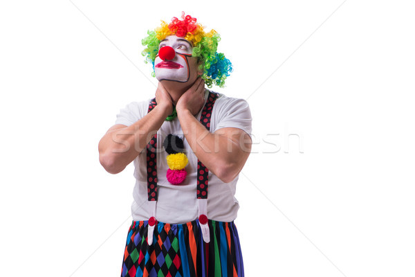 Funny clown acting silly isolated on white background Stock photo © Elnur