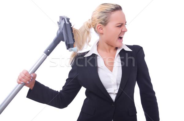 女性実業家 真空掃除機 白 家 幸せ 作業 ストックフォト © Elnur