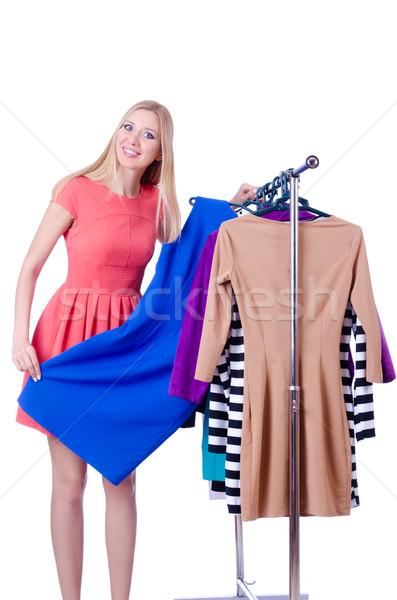 Mujer nuevos ropa blanco sonrisa habitación Foto stock © Elnur