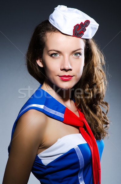 Młoda kobieta marynarz morskich uśmiech moda lata Zdjęcia stock © Elnur