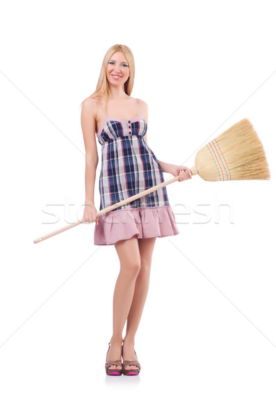 Young woman with broom on white Stock photo © Elnur