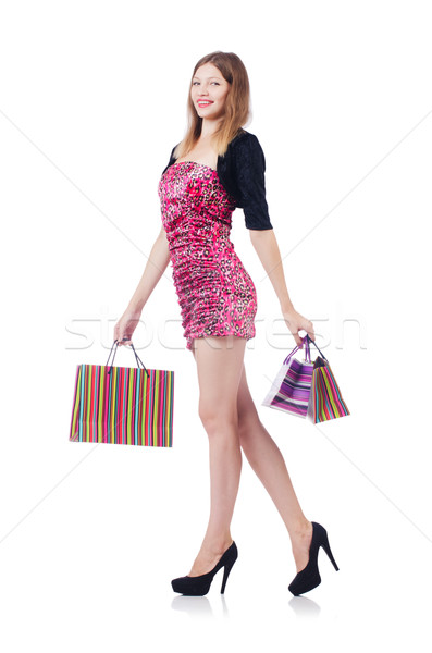 Young girl after good shopping on white Stock photo © Elnur