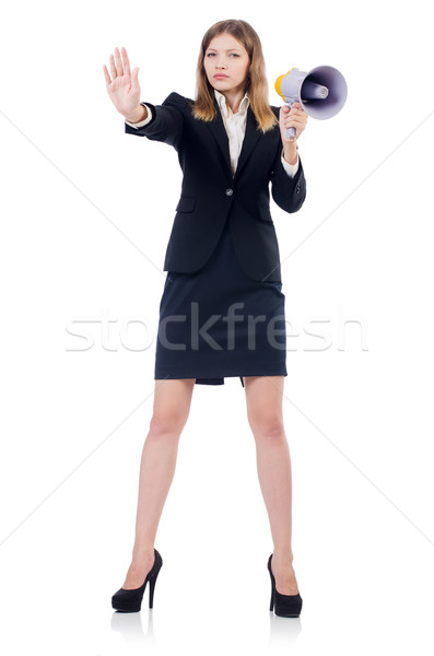 Businesswoman with loudspeaker  isolated on white Stock photo © Elnur