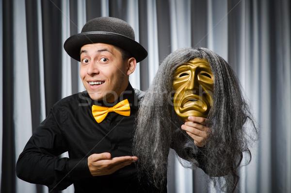 Divertente teatrale maschera sfondo sicurezza imprenditore Foto d'archivio © Elnur