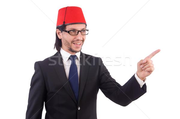 Businessman wearing fez hat isolated on white Stock photo © Elnur
