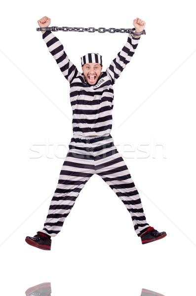 Foto stock: Prisão · internado · isolado · branco · óculos · bola