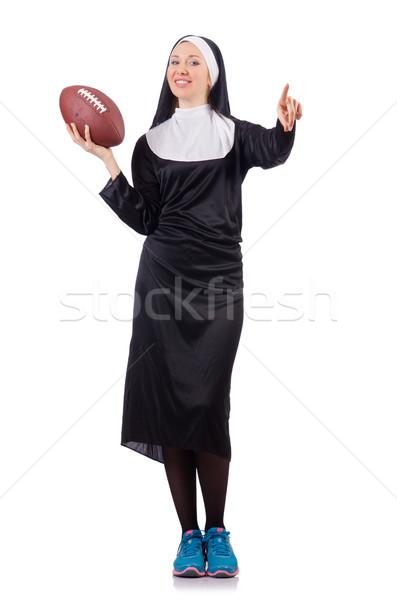 Dość zakonnica rugby ball odizolowany biały kobieta Zdjęcia stock © Elnur