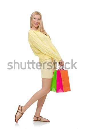 Stock fotó: Csinos · fiatal · nő · nyár · citromsárga · ruházat · izolált
