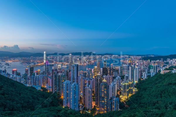 Foto stock: Vista · Hong · Kong · puesta · de · sol · cielo · edificio · ciudad