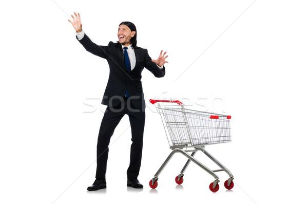 Om cumpărături supermarket coş coş izolat Imagine de stoc © Elnur