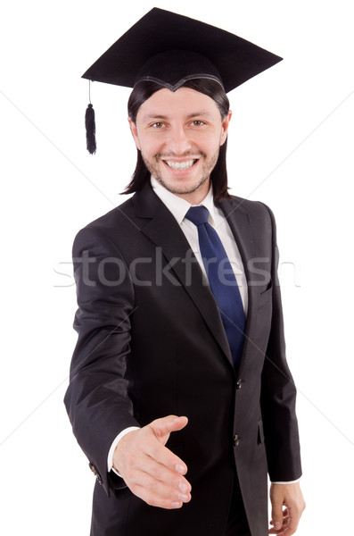 Jeunes étudiant isolé blanche papier main Photo stock © Elnur